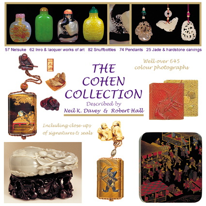 Netsuke, inro, snuff bottles and jade carvings - 645 colour photographs, signatures close-ups.  Described by Neil K. Davey and Robert Hall